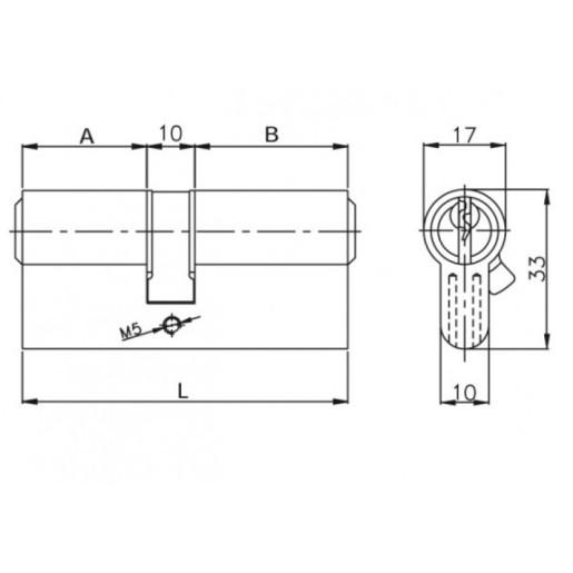 Kit broasca poarta pietonala pentru profil 40x40 mm maner Negru
