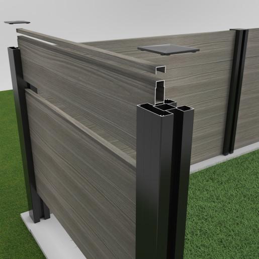Stalp gard aluminiu, RAL 7016