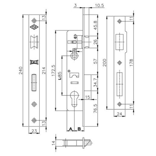 K153-25 Broasca Kale 153-25 pentru profil rectangular 40x30 mm