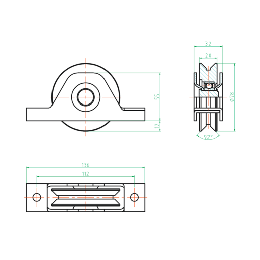 Rola incastrata pentru poarta culisanta - EHBY80