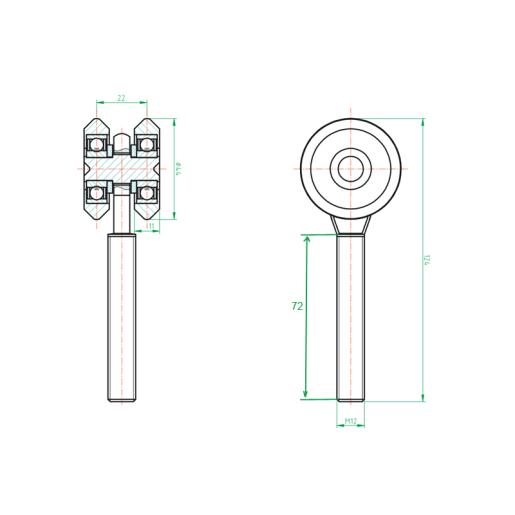 Rola simpla  pentru porti glisante mediu 42x54 mm