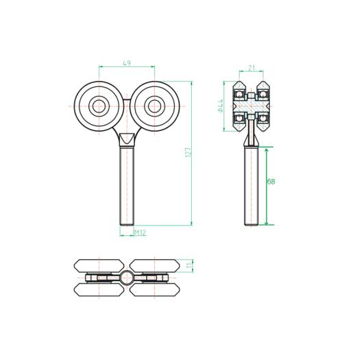 Rola dubla pentru sina suspendata 42x54 mm
