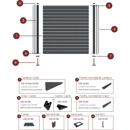 Profil inchidere lamela gard aluminiu, RAL 7016