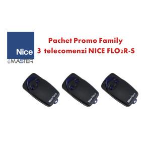 Pachet Promo Family 3 telecomenzi FLO2R-S pentru automatizarile NICE